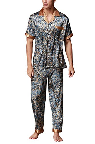 Retro Colletto Summer Lakeblue Mode Parts With Pajama Print Camicia Pocket You Two Man Brand Long Bolawoo Satin Aw0v1