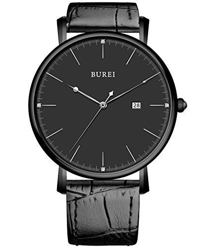 Elegant Womens Watch (BUREI® Unisex Ultra-thin Elegant Date Quartz Watch with Black Calfskin Leather Band, Black)