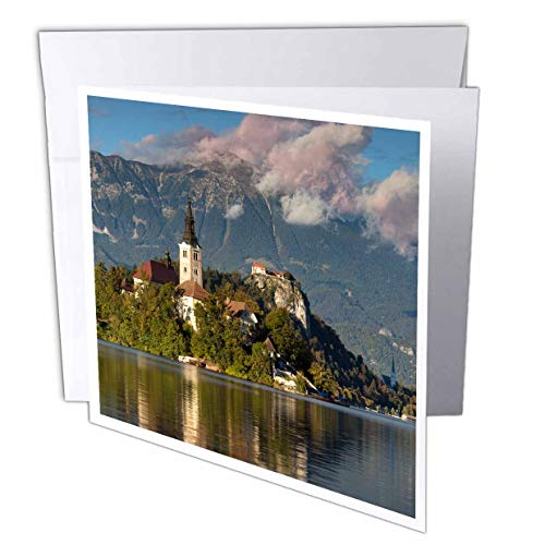 3dRose Danita Delimont - Slovenia - St. Marys Church on Bled Island with Bled Castle, Slovenia. - 1 Greeting Card with Envelope (gc_313883_5)