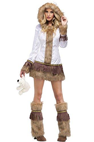 Eskimo Costume Womens - FunWorld Eskimo, White/Brown, 2-8 Small Costume