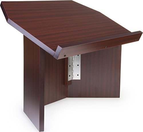 Displays2go Portable Lectern for Tabletop Use, Wood Podium with Folding Design, Melamine with Red Mahogany Finish - Tabletop Portable Lectern