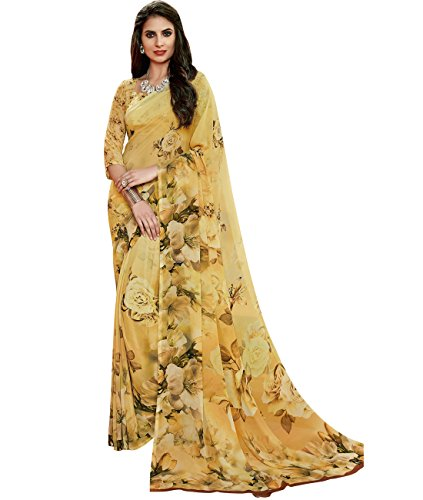 Indian Ethnicwear Bollywood Pakistani Faux Georgette Mustard Coloured Printed Saree by Maahir Garments
