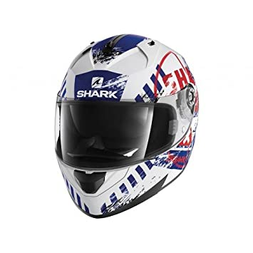 Shark casco de moto ridill skyd Wbr, color blanco/azul/rojo, talla