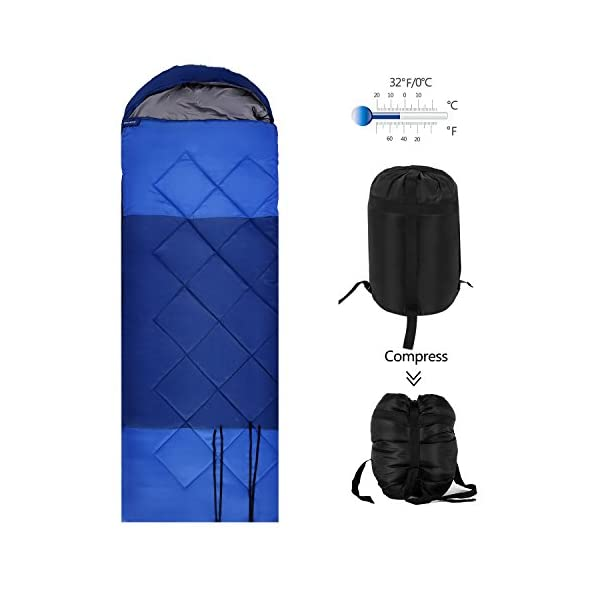 OUTCAMER Sleeping Bag Lightweight Waterproof For Adults Camping Backpacking Hiking 3 Season Warm Cool Weather 2060