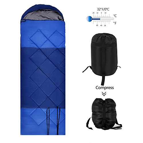 OUTCAMER Sleeping Bag Lightweight Waterproof for Adults Camping Backpacking Hiking, 3 Season Warm & Cool Weather, 20~60℉ (single person_blue_210T out shell, 220 x 160cm/86.6 x 29.5 inch) Review
