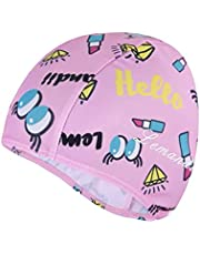 Unisex Children Kid Swim Cap Waterproof Silicone High Elastic, Cartoon Pattern Diving Hiking, Age 2-12 Baby Kid (Pink)