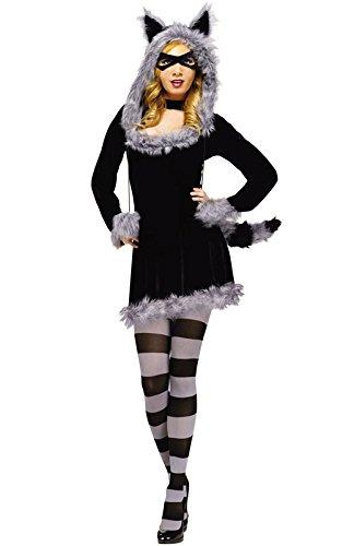 Fun World Women's Racy Raccoon Costume, Black, Medium/Large -
