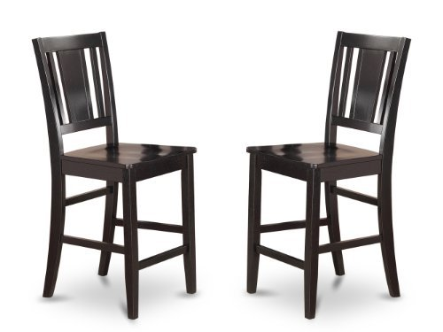 - East West Furniture BUS-BLK-W Counter Height Chair Set for Dining Room with Wood Seat, Black Finish, Set of 2