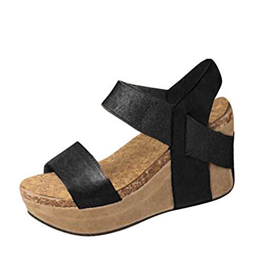 Mode Été Talon Boucle Retro Talons Peep Romaines Hauts Chaussure Femme Toe Compensé Noir A Sandale Sandals PU Casual Minetom qXf5x7w