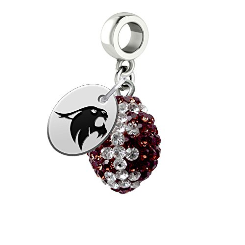 Texas State Bobcats Crystal Football Drop Charm Fits All European Style Bracelets