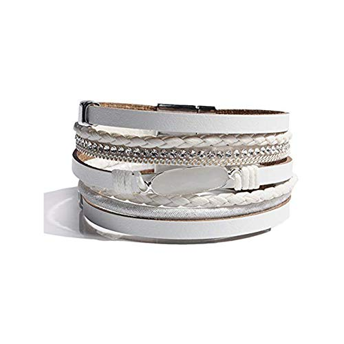 Artilady Shinning wrap Clasp Bangle for Women (Crystal White)
