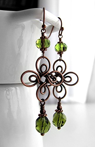 Luck of the Irish Green Four Leaf Clover Earrings, St Patricks Day Lucky Earrings with Antiqued Copper