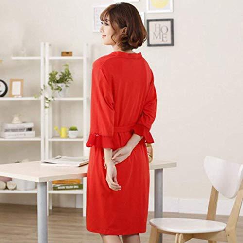 Completo Pigiama con estiva rosso Accappatoio da donna sexy X SYY sottile rosa con con in pigiama sezione in manica due lunga Large Accappatoio da fasce cotone tasche cotone dq8UY