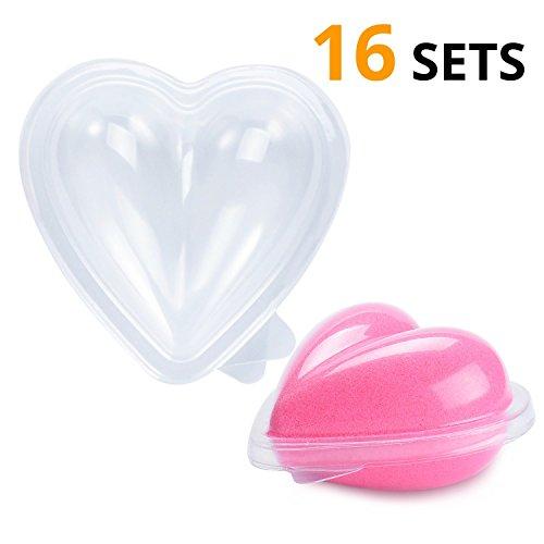 Clamshell Molds - Ian's Choice Bath Bomb Mold Heart Shape Clear Plastic Clamshell Bath Bomb Supplies bathbombs molds (16 Sets)