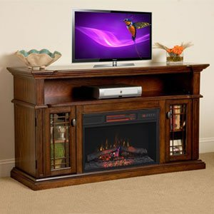 Charming ChimneyFree Wallace Infrared Electric Fireplace Entertainment Center In  Empire Cherry   26MM1264 EPC