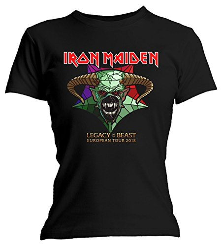 (Ladies Iron Maiden Legacy of The Beast Tour Official Tee T-Shirt Womens Girls (Small) Black)
