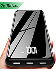 Gnceei Power Bank 25000mAh Caricabatterie Portatile Wireless con Display Digitale LCD, 3 Porte USB e 2 Ingressi, Batteria Esterna Compatibile con Android/iOS Phones, Tablet e Altri
