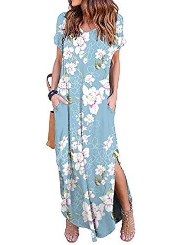 - AKEWEI Maxi Dresses for Women Plus Size Summer Floral Print Long Dress with Pocket Casual Beach Skirt Cover Up Slits (Light Blue,M)