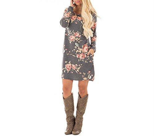 Xuan2Xuan3 Women Floral Print Long Sleeve Tunic Loose Casual Short Shirt Mini Dress