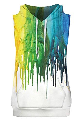 Aieoe Paint Splash Print Sleeveless Drawstring Hoodie Sweashirt for Men Women Unisex Couple US Size XS -
