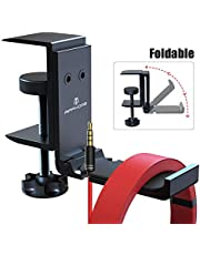 APPHOME Upgrade Foldable Headphone Stand Under Desk PC Gaming Headset Hanger Holder Hook Clamp with Built in Cable Clip Organizer Space Save Mount Fold Upward Not in Use, Universal Fit, Black