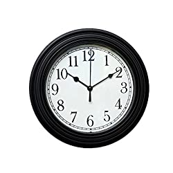 Foxtop Silent Minimalist Wall Clock Non Ticking Digital Quiet Sweep 9-Inches Home Decor Round Vintage Resin Wall Clocks (Black)