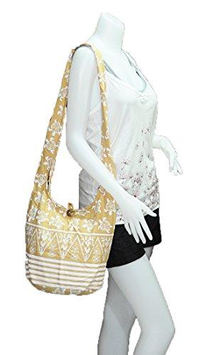Handmade Sling Hobo Hippie Shoulder Crossbody Boho Purse Gypsy M051 Bag Turtle Thai Cotton Zip Messenger Medium Eq05A
