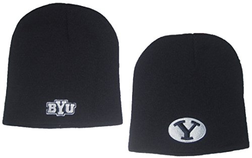 Brigham Young University BYU Cougars NCAA Navy Double Sided Logo Cuffless Knit Beanie - Logo Hat Cuffless Knit