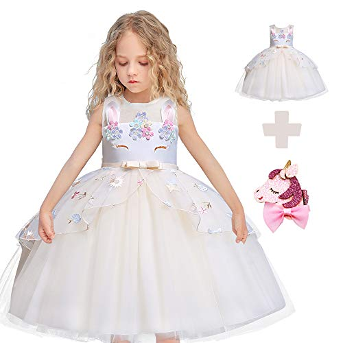 Flower Girls Unicorn Costume Cosplay Princess Dress up Kids Pageant Party Dress Dance Outfits Evening Gowns (7 Years, Champagne)