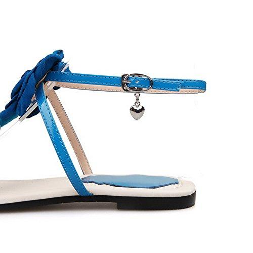 Amoonyfashion Damesmengsel Materialen Gesp Split Teen Geen Hak Massieve Sandalen Blauw