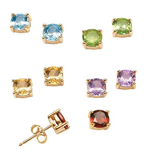 - Genuine Multi-Gemstone 18k Gold over .925 Sterling Silver 5-Pair Set of Stud Earrings