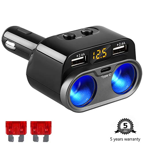 (Sunjoyco 2-Socket Cigarette Lighter Splitter Adapter Type C Car Charger, Multi Power Outlet 12V/24V 80W DC with 4.8A Dual USB Port + Voltage Display +On/Off Switch for iPhone iPad Samsung GPS Dash Cam)