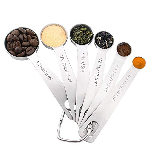 Tovieya Spoons Set of 6 for Measuring Dry and Liquid Ingredients, Easy to use, Stainless Steel