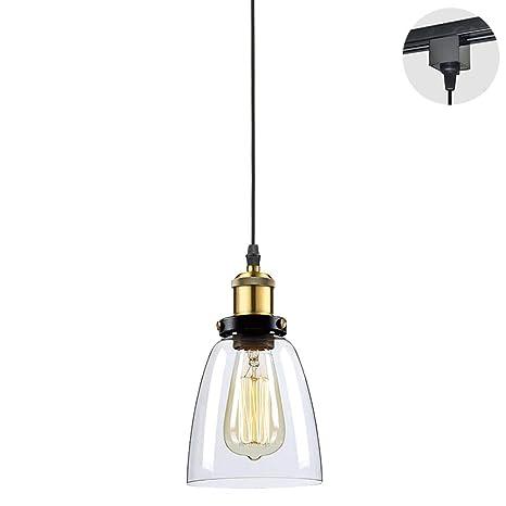 STGLIGHTING 1 Ligh H Type Track Light Pendants Restaurant Chandelier Glass  Lampshade Pendant Light Industrial Factory Pendant Lamp Bulb Not Included  ...