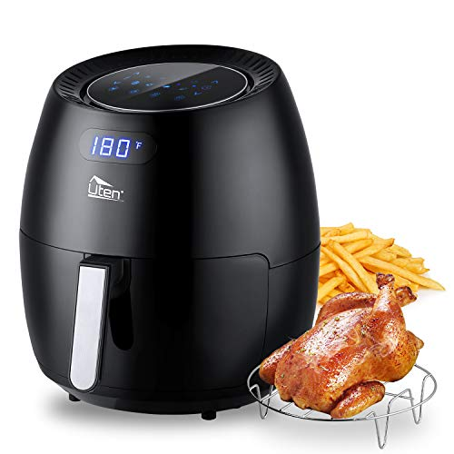 Uten Air Fryer 6.9QT, Electric Stainless Steel Air Fryers Oven Oilless Cooker, 8 Cooking Preset, Instant Temp/Time Control, LED Digital Touchscreen, 2-Year Warranty – Black