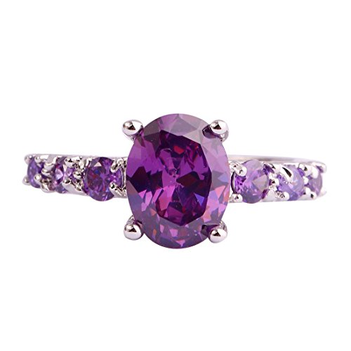 Emsione Women's 925 Silver Plated Creted Amethyst 4-Prong Oval Cut CZ Petite Micro Cubic Zirconia Wedding Engagement Anniversary Statement Eternity Ring Size 6 to 13