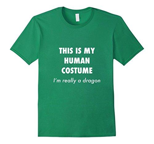 Scary School Girl Costume Diy (Mens Funny Dragon Costume Halloween Shirt for Women Men Boys Girl Medium Kelly Green)