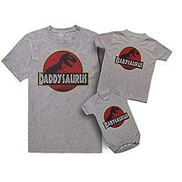 ART HUSTLE Daddysaurus Babysaurus Skeloton Design Father and Baby Matching T Shirt & Bodysuit Set