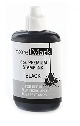 ExcelMark Premium Stamp Refill Ink, Black, 2 Ounce Bottle
