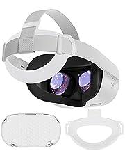 TPU Hoofdkussen Hoofdband+Voorste Beschermhoes voor Oculus Quest 2,Hoofddruk Verminderen,Anti-Kras Anti-Shock,Accessoires voor Oculus Quest 2 (Wit)