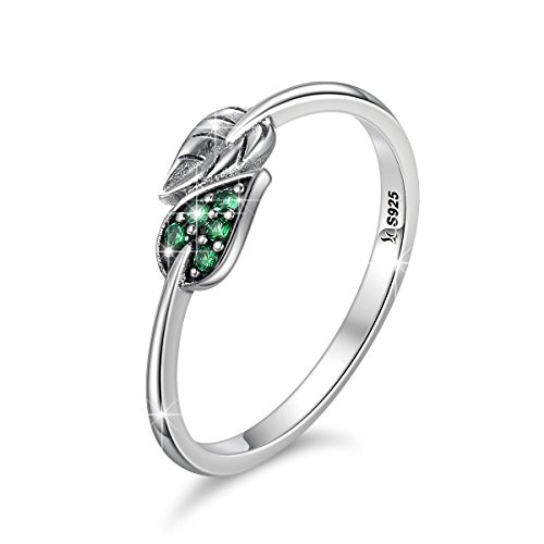BAMOER 925 Sterling Silver Dancing Leaves Leaf Finger Rings With Green Dazzling CZ for Women Girls for ()