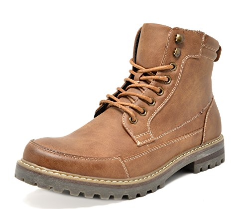 Bruno Marc Men's Engle-01 Brown Motorcycle Combat Oxford Boots Size 7.5 M US