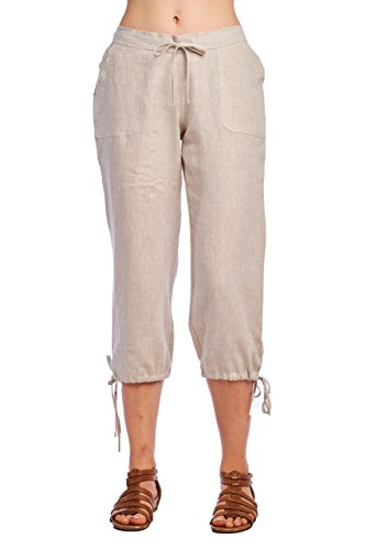 Linen Capris (High Style Women's Casual 100% linen capri pants with drawstring and adjustable leg tie (1411, NaturalLinen, 12))