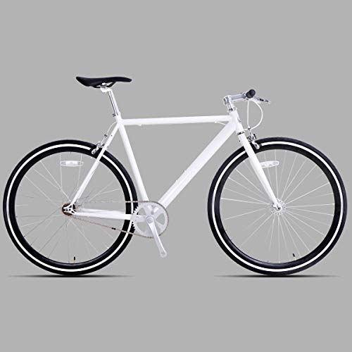 Hiland Fixed Gear Bike Single-Speed Fixie Urban Commuter Bicycle for Men and Women Road Hybrid Bike Adult Teenager Youth Boys Girls Bicycle 700C Wheels Bikes, White 50cm