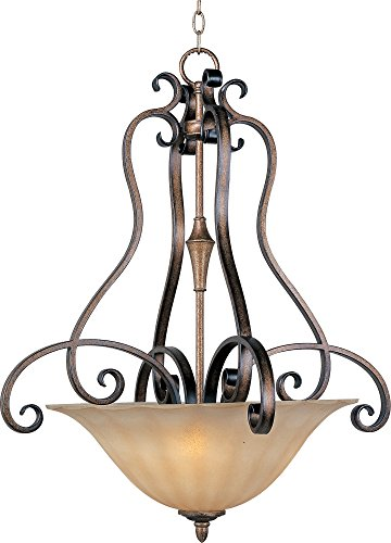 Maxim 22243WSPD Fremont 3-Light Invert Bowl Pendant, Platinum Dusk Finish, Wilshire Glass, MB Incandescent Bulb , 13W Max., Damp Safety Rating, 2700K Color Temp, Glass Shade Material, 2700 Rated Lumens