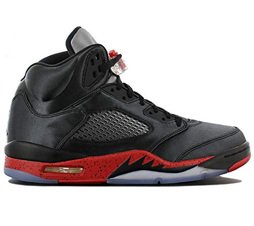 Jordan Air Man's Retro 5 Satin Features Black/University Red (9.5) (Air Jordan 5 Retro)
