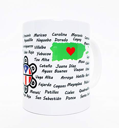 Puerto Rico Mug 11 oz. Ceramic Puerto Rican Gift Coffee Mug - Coqui, Made in Puerto Rico Barcode, Puerto Rican Map &, Taino Sun Flag w/All Puerto Rican Towns