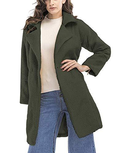 Giubotto Giacca Colori Donna Outerwear Eleganti Coat Abbigliamento Lunga Invernali Giaccone Sciolto Casual Moda Manica Armygreen Vita Alta Bavero Solidi Autunno BBZrAwq