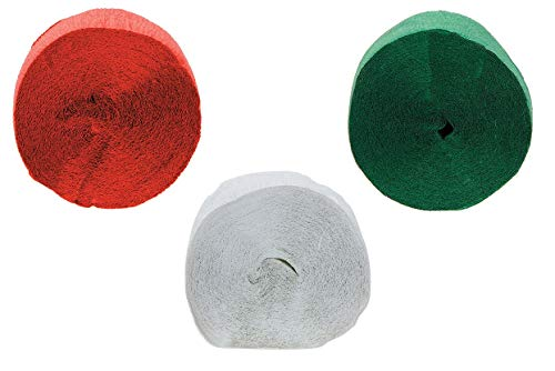 (243 Feet Crepe Paper Streamer (Pack of 3 - Red, White & Green - 81 Feet Each) Christmas Party)