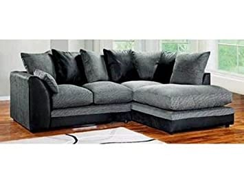 Dylan Byron Corner Group Sofa Black and Charcoal Right or Left (Black Right)